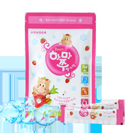 [맛있는 건강간식]<br>얼려먹는하마쭈 딸기맛 1봉(10개입)-유통기한:2020년 11월