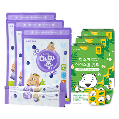 얼려먹는하마쭈 블루베리맛 3봉(10개입x3) + 함소아 아이스겔 밴드 (18매입x3)
