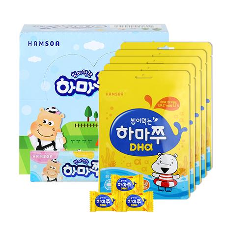 [35%★고래젤리효과]<br>씹어먹는하마쭈 초유 20개+하마쭈DHA 100정