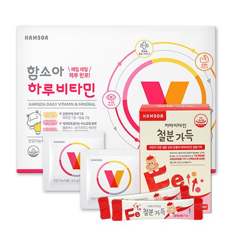 [33%★학교종 땡땡]<br>하루비타민 1개월+철분가득 1개월