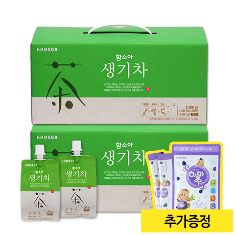 [여름 한정 출시!]<br>함소아 생기차(100mlx20포)X2박스 (증정: 얼려먹는 하마쭈 블루베리맛 1봉)
