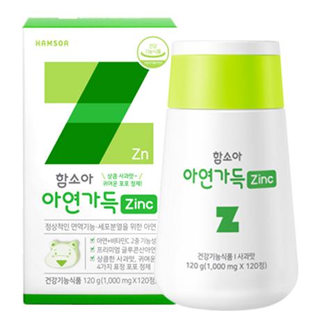 [면역히어로 사과맛 아연]<br>함소아 아연가득 1,000 mg X 120정 (30일분)