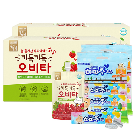 [28%★우리집 냉장고엔]<br>키득키득 오비타 2박스(100mlX10팩)X2+하마쭈 초유 8개(4개입X2)